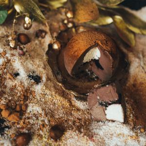 Trufa de ciocolata cu interior de cocos si sos de cirese negre interior